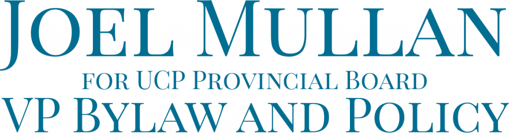 Joel Mullan logo dark background UCP VP Bylaw and Policy